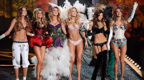 Victoria's Secret Angels (left to right) Behati Prinsoloo, Marisa Miller, Heidi Klum, Doutzen Kroes, Miranda Kerr and Alessandra Ambrosio during the Victoria's Secret Fashion Show at the Lexington Armory in New York.