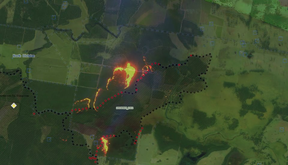 A linescan of the Mothersoles Road fire shows the fire making run to the north. Firefighters are undertaking back burning in a bid to contain the fire.