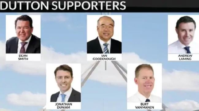 The MPs who reportedly voted for Peter Dutton in a leadership challenge against Prime Minister Malcolm Turnbull. Photo: Sky News.