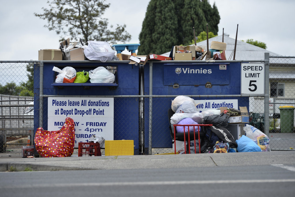 Vinnies donation bins at Ruthven and Long streets were overflowing earlier this year.