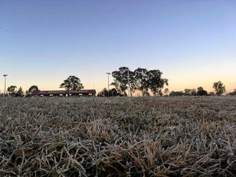 Frost blankets Albert Park in Gympie early Wednesday morning as the temperature plummets below zero.