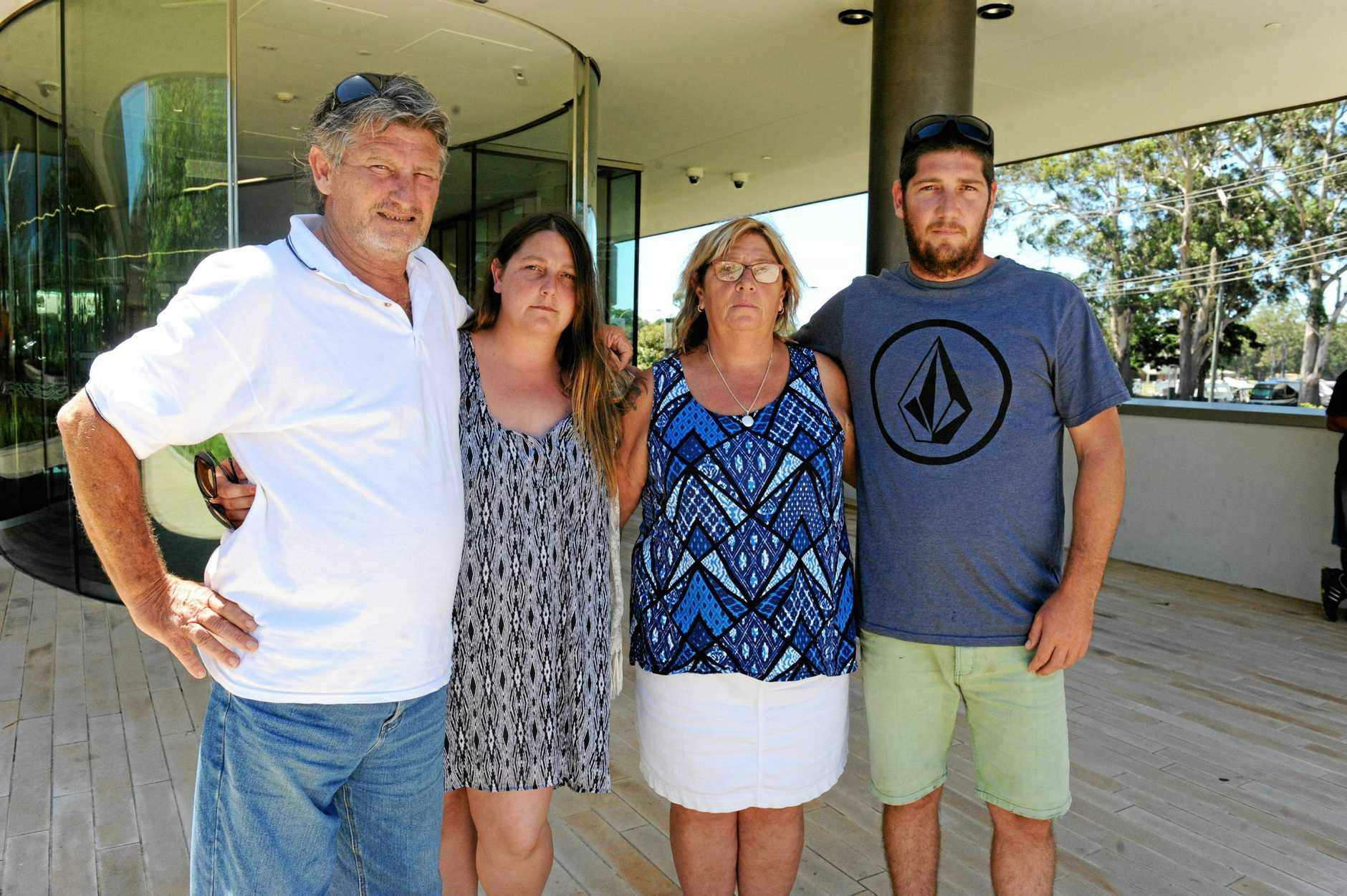Family attend the coronial inquest into the death of Matthew Mitchell in 2017. Pictured are Matthew's father Peter, sister Alisha, mother Julie, and brother Rob.