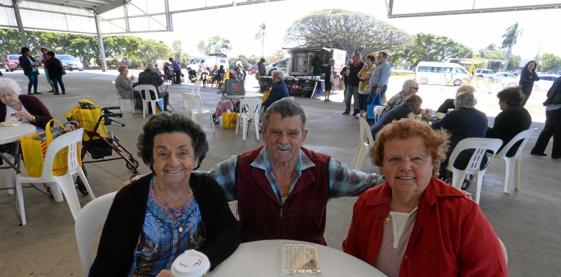 Audrey Ericksen, Rick Shanks and Margaret Dullahide enjoy the Seniors Expo yesterday.