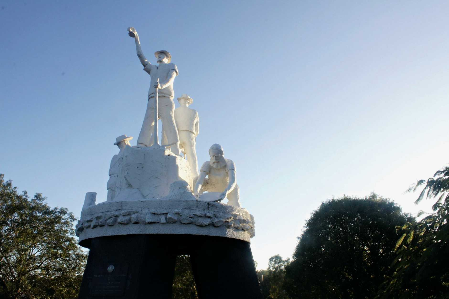 The gold mining statue on the Bruce Highway leading into Gympie harkens back to the city's golden past.