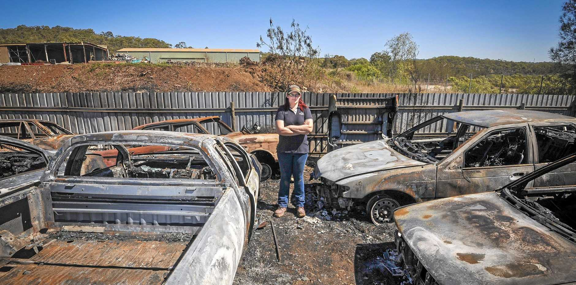 EXTENSIVE DAMAGE: Williams Auto Wreckers & Mechanical owner Tanya Williams said the loss of 14 cars in a fire has left a big dent on the business's stock. Tanya also lost her 1960s Ford Falcon in Tuesday's blaze.