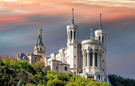 The Basilica of Notre-Dame de Fourviere in the historical centre of Lyon.