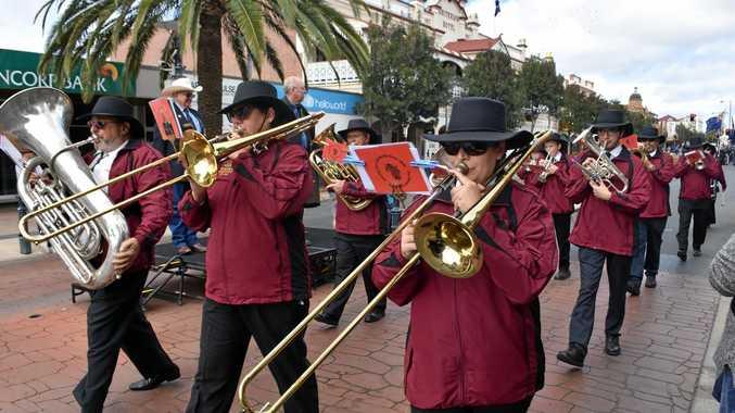 UNDER THREAT: The Warwick City Band perform on Palmerin St.
