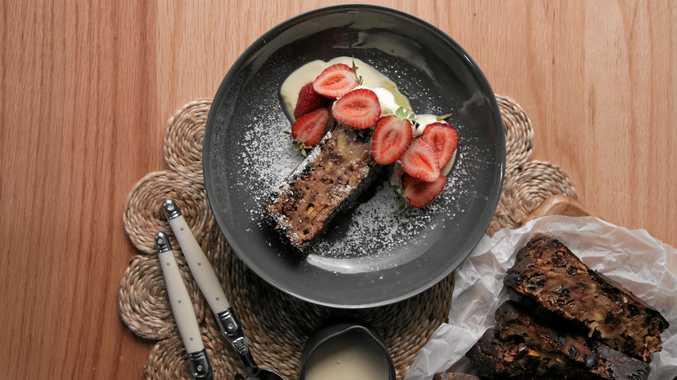 Peter Kuruvita's sourdough bread and butter pudding.