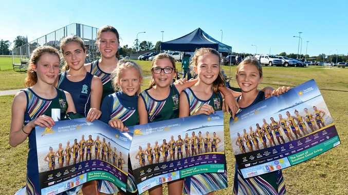 Out and about at Fishermans Rd netball courts are Sunshine Coast Lightning fans Zara Larsen, Charlotte Thomas, Oliva Larsen, Grace Brimelow, Layla Grimsey, Eliza Posselt and Willow Spero.