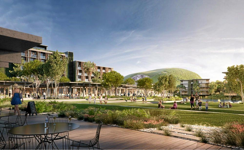 An artist's impression of Sekisui House's proposal looking towards Mount Coolum.