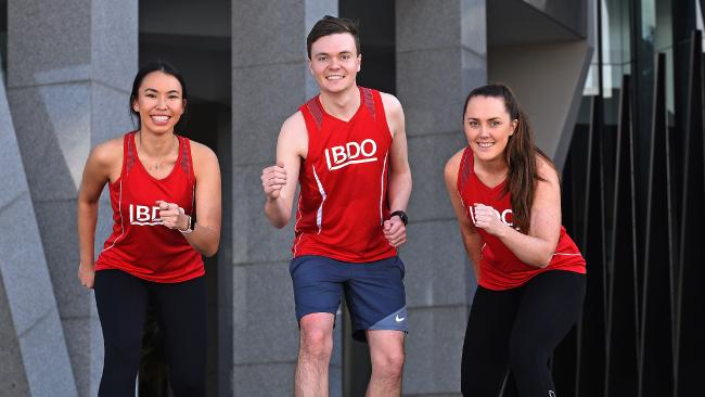 BDO runners (L-R) Emily Blauberg, Dominic Kearney and Amy Gallagher. AAP image, John Gass.