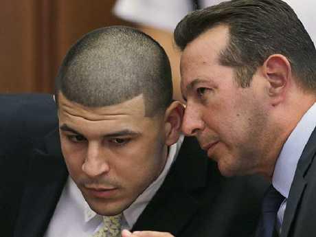 Aaron Hernandez and his lawyer Jose Baez.  Picture:  AP