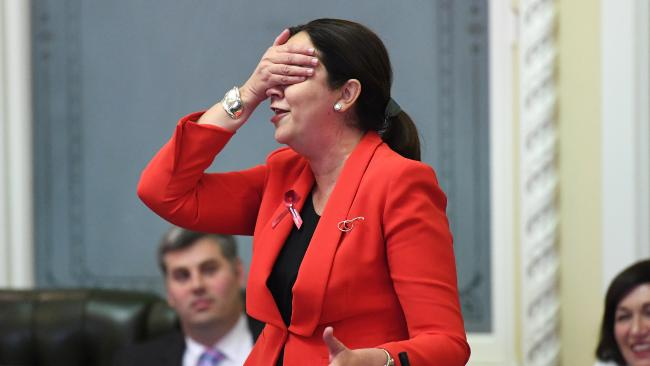 Premier Annastacia Palaszczuk in Question Time yesterday. Picture: Dan Peled/AAP