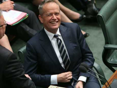 Bill Shorten was all smiles in the chamber yesterday. Picture: Kym Smith
