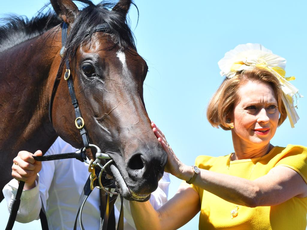 Co-trainer Gai Waterhouse with Invincible Star after their Thoroughbred Club Stakes win last year.