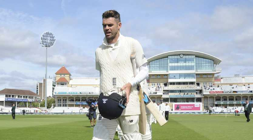England's James Anderson leaves the field after being dismissed, leaving India with a 203-run victory in the third Test. Picture: AP