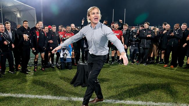 Crusaders coach Scott Robertson breakdances after winning the 2018 Super Rugby final.