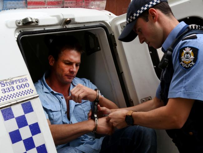 Ben Cousins leaves Fremantle police station in 2015.