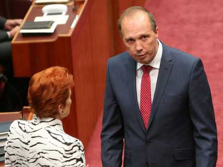 Senator Pauline Hanson believes Peter Dutton would do an excellent job as PM. Picture: Kym Smith