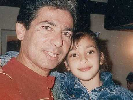 A young Kim Kardashian with her father Robert. Picture: Instagram