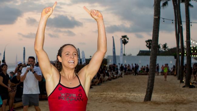 Jordan Mercer wins the inaugural World Ironman Series event in Bali.