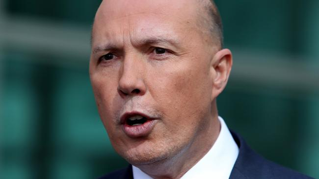 Peter Dutton holds a press conference at Parliament House in Canberra yesterday. Picture: Kym Smith