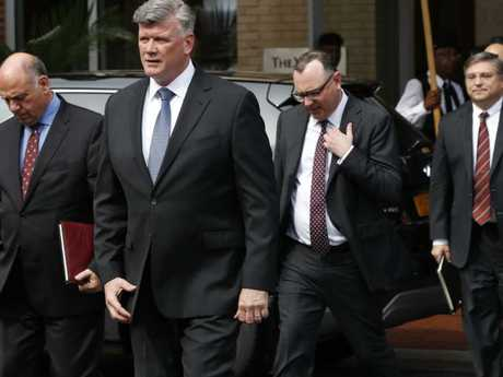 Members of the defense team for Paul Manafort, from left, Thomas Zehnle, Kevin Downing, Brian Ketchum, and Richard Westling, return to federal court.  Picture:  AP