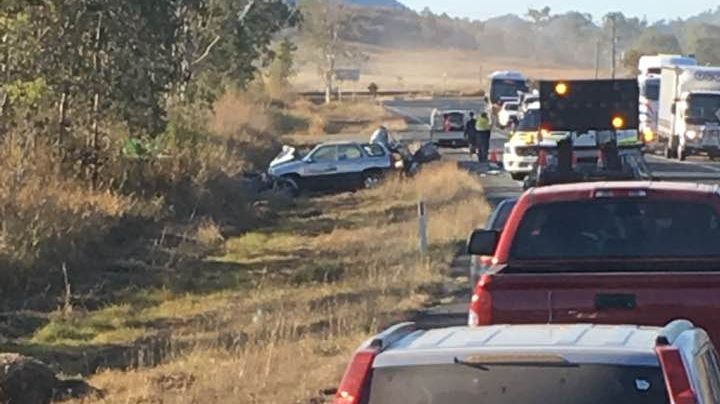 The Bruce Highway is shut in Bloomsbury due to a crash
