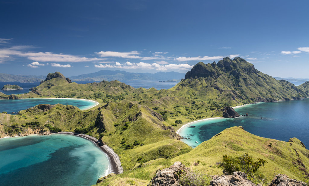 Aerial view of the island Pulau Padar at the famous Komodo National Park in Indonesia.