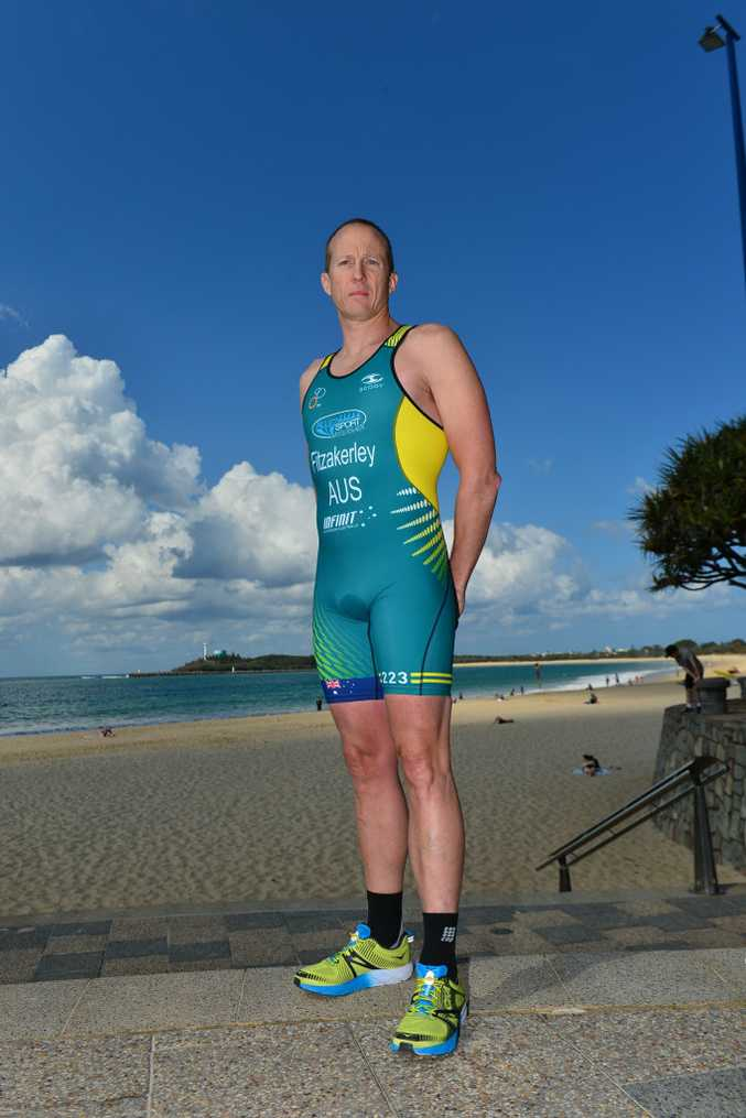 Triathlete Nathan Fitzakerley on Mooloolaba Beach.