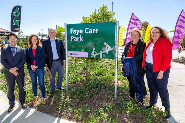 BIG HONOUR: Dignitaries showed their support for the official opening of Faye Carr Park in Ripley. Aunty Far Carr is pictured second from the right.