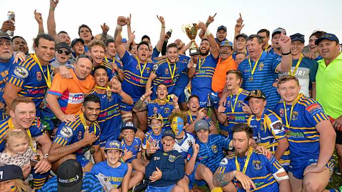 Noosa Pirates celebrating their 2017 grand final win. After a disappointing season the Pirates failed to qualify for finals meaning a new premier will emerge.