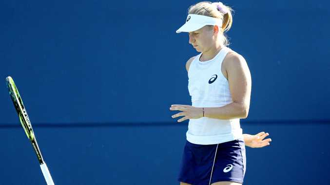 Daria Gavrilova shows her frustration during her match against Aryna Sabalenka of Belarus on day three of the Connecticut Open. Picture: Maddie Meyer/Getty Images