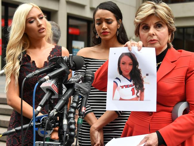 Former Texans cheerleaders Hannah Turnbow and Angelina Rosa alongside lawyer Gloria Allred.