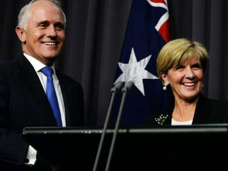 Deputy Prime Minister Julie Bishop has insisted she doesn't 'envisage' Mr Dutton becoming prime minister, and has no plans to run herself. Picture: AAP Image/Sam Mooy