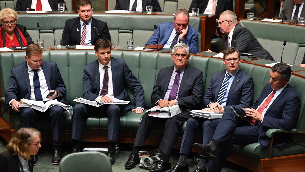Ministers for Small Business Craig Laundy, Cyber Security Angus Taylor, Aged Care Ken Wyatt, Citizenship Alan Tudge and Veterans' Affairs Darren Chester during Question Time on Wednesday. Picture: AAP