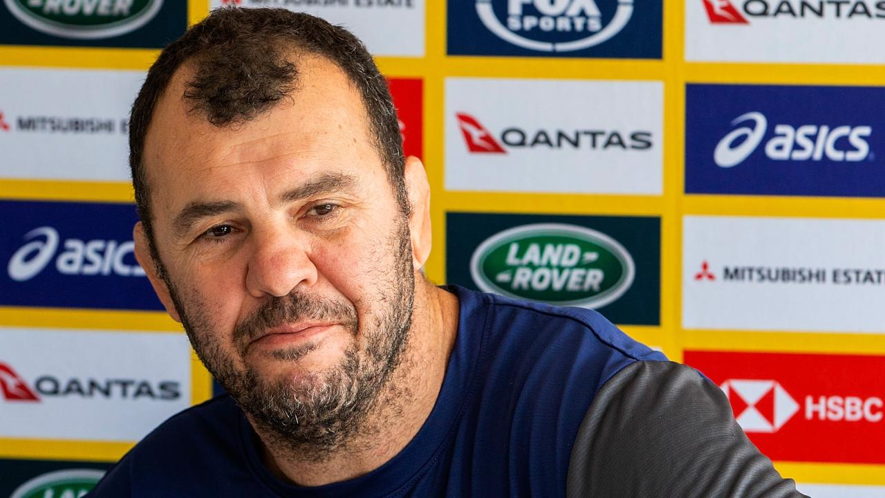 Head coach of the Wallabies Michael Cheika speaks to the media during a press conference on Waiheke Island, Auckland, New Zealand, Thursday, August 23, 2018. (AAP Image/David Rowland) NO ARCHIVING