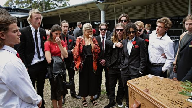 Mourners of Angus Prior, 18, at Pittwater Uniting church. Picture: Adam Yip.