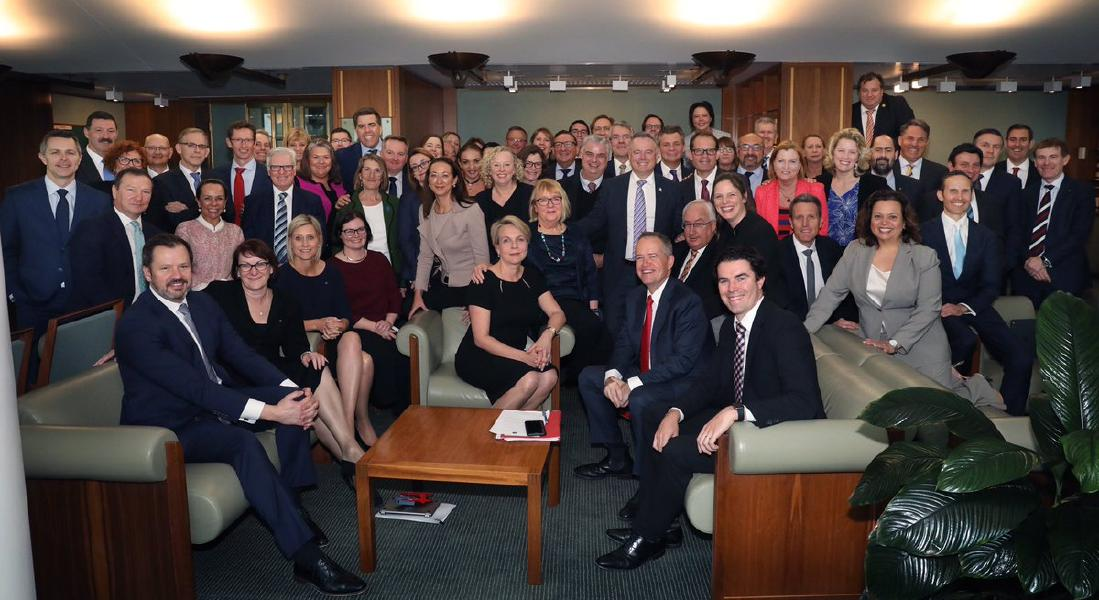 "Labor leader Bill Shorten tweeted this cheeky photo of his Lower House team: ""The Liberals have shut down the Parliament and given up on governing Australia. My united and stable Labor team are ready to govern. We are 100% focused on delivering a fair go for all Australians."""