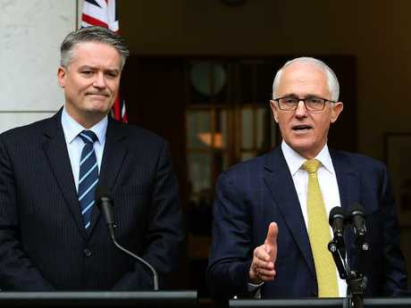 Mr Turnbull is relying on the support of Senator Mathias Cormann, who has reportedly told him he has lost control and is facing pressure from the two sides. Picture Kym Smith