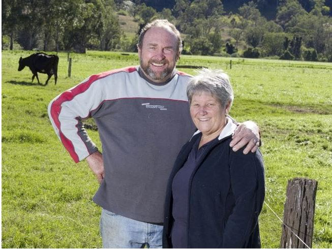 Tony and Jill Wilson from their dairy farm in the Northern Rivers of NSW. Source:Supplied