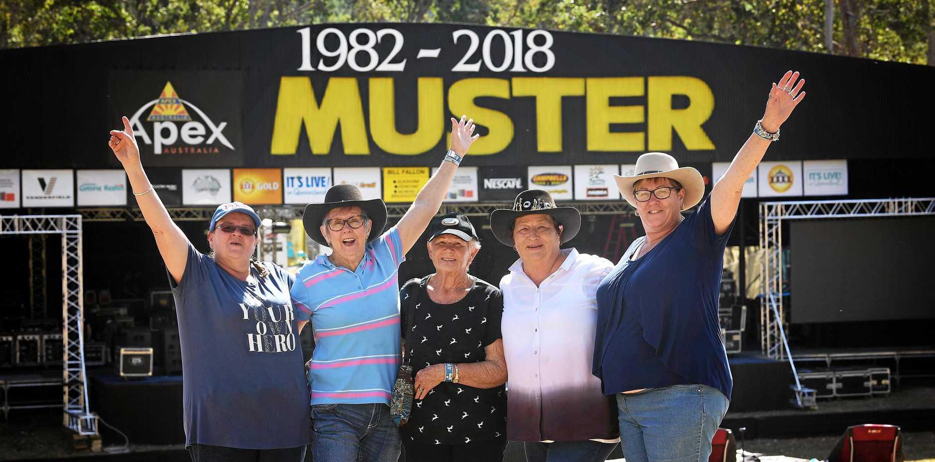 LIFELONG FRIENDS: Lindy Caldwell, Lyn Wray, Gwenda Caldwell, Lynn Hogan and Kerri Midolo at the 2018 Gympie Muster yesterday.