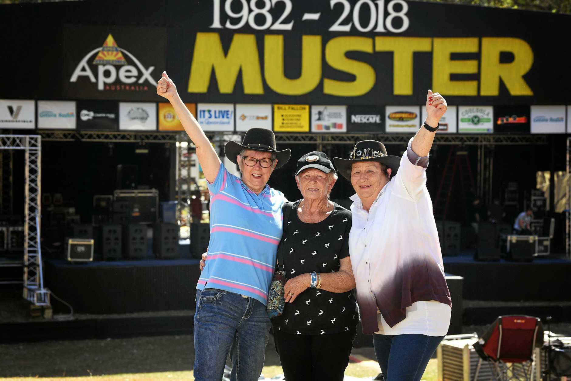 Gympie Muster 2018 Lyn Wray, Gwenda Calwell and Lynn Hogan.