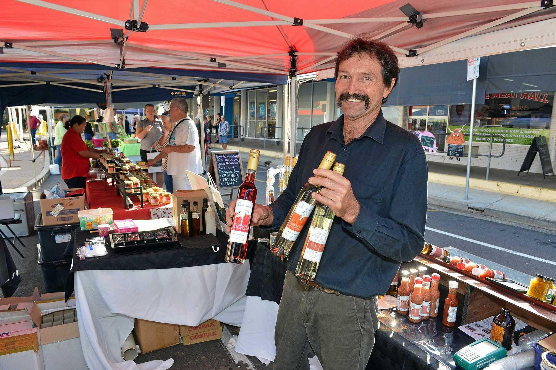 Smithfield Street, Market Gympie. John Pool from Lychee Divine, Tinana selling award winning Liquers.   Photo Greg Miller / Gympie Times