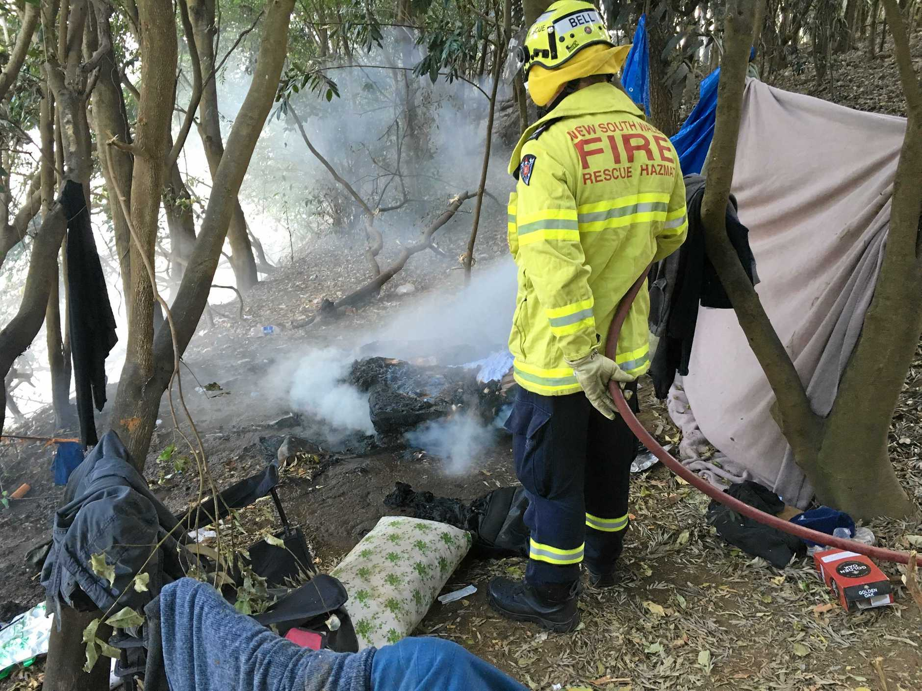 Firefighters from the Lismore Fire & Rescue crew were called to a small fire in an itinerant campsite on the riverbank in North Lismore.