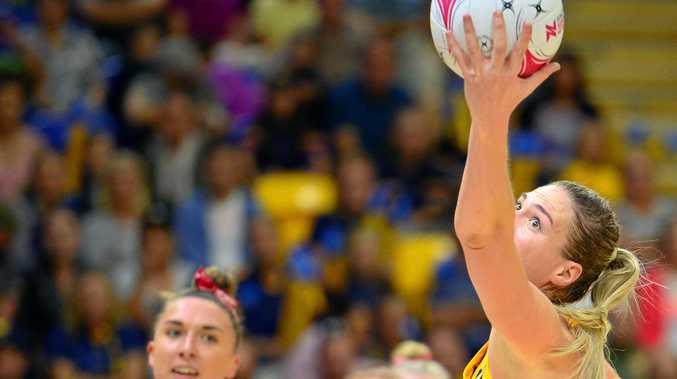 GOAL SHOOTER: Sunshine Coast Lightning's Caitlin Bassett rises above the pack.