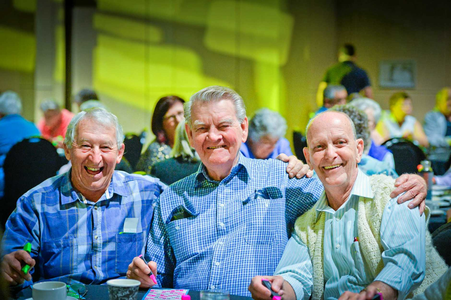 TEA TIME: Roly Bath, Don Robertson and Brian Western at the 2017 Mayor's Morning Tea.