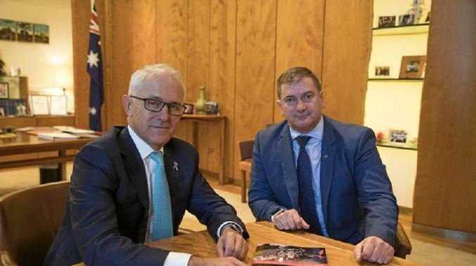 HAPPIER TIMES: PM for the moment, Malcolm Turnbull meets with Wide Bay MP Llew O'Brien to discuss road funding. Mr O'Brien says real issues are what matter but the Libs are lost in ego.