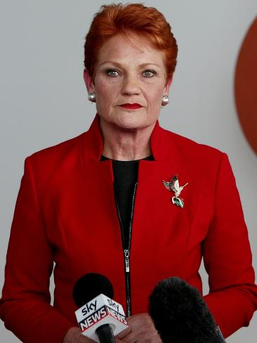 "Senator Pauline Hanson said that she had worked well with both Mr Morrison and his leadership rival Peter Dutton: ""I find them both very obliging."" Picture: Kym Smith"