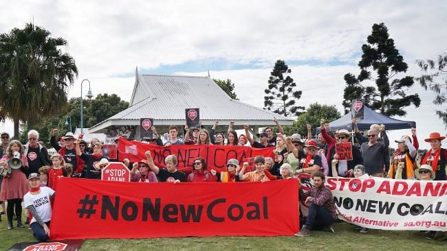 The national campaign to Stop Adani saw a large group gather in Arthur Davis Park, Sandgate. Picture: Renate Hottmann-Schaefer